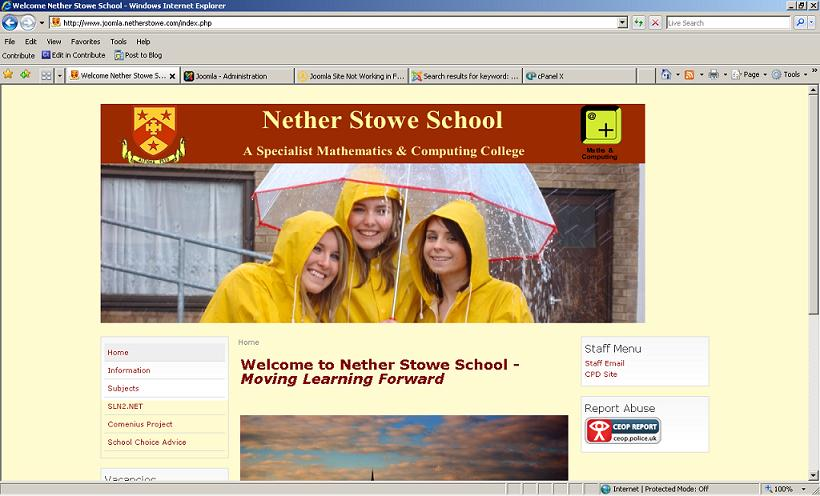 School Website not displaying properly in Firefox/Google Chrome
