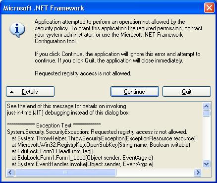 how to turn off microsoft net framework unhandled exception window