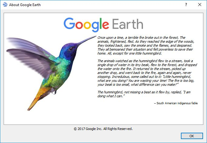 Google Earth Easter Egg When Opening The About Window
