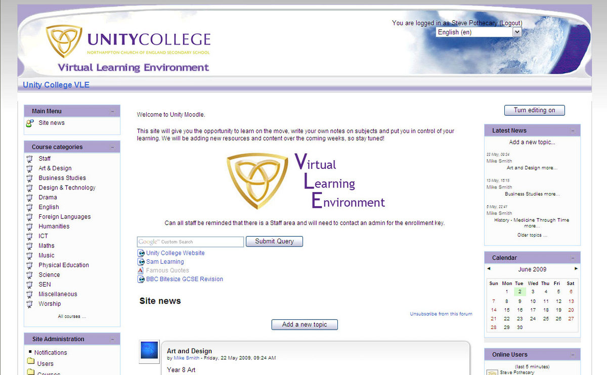 "The new look of the Unity college Moodle using the ""Clouds"" theme available from Moodle.org"