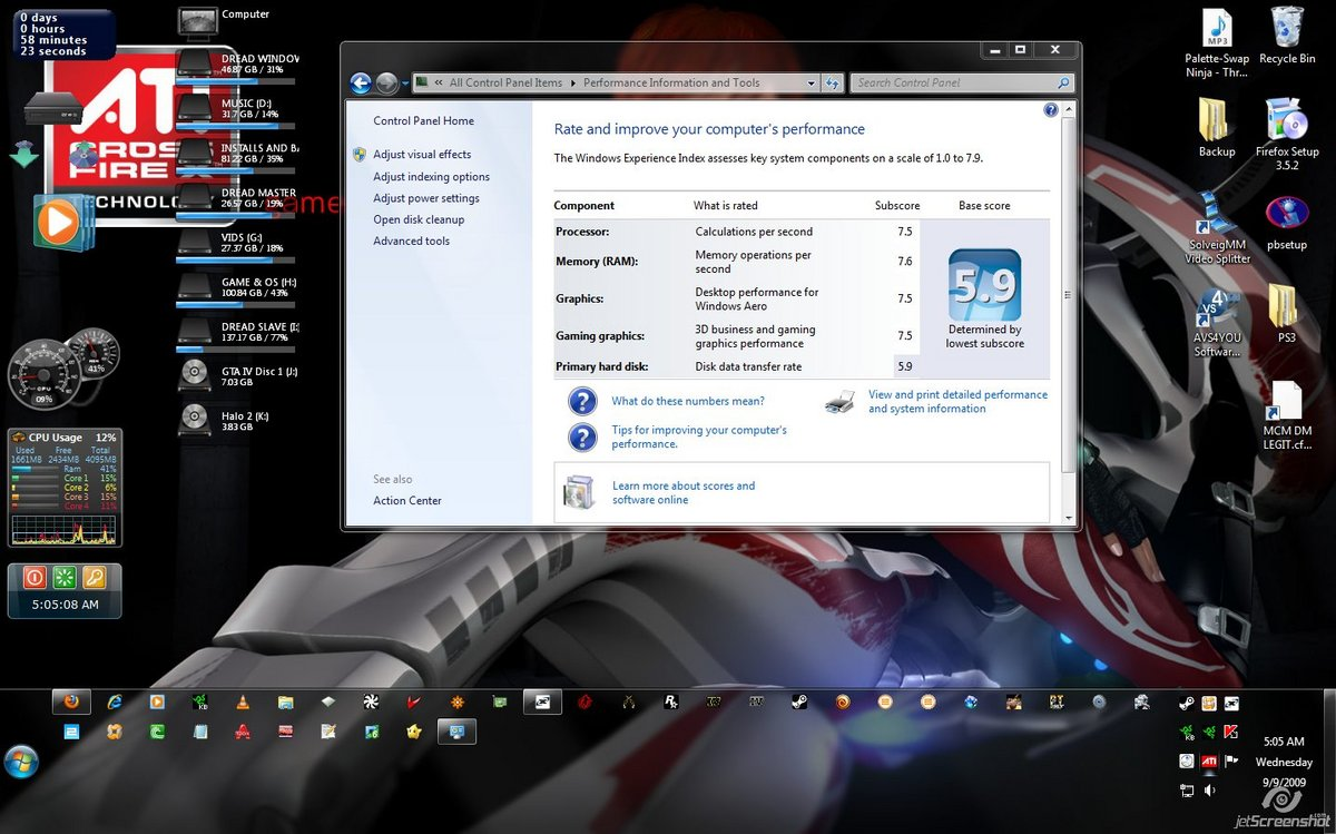 My Win 7 Score...Just playng around and apparently the HD I installed on is not that fast.