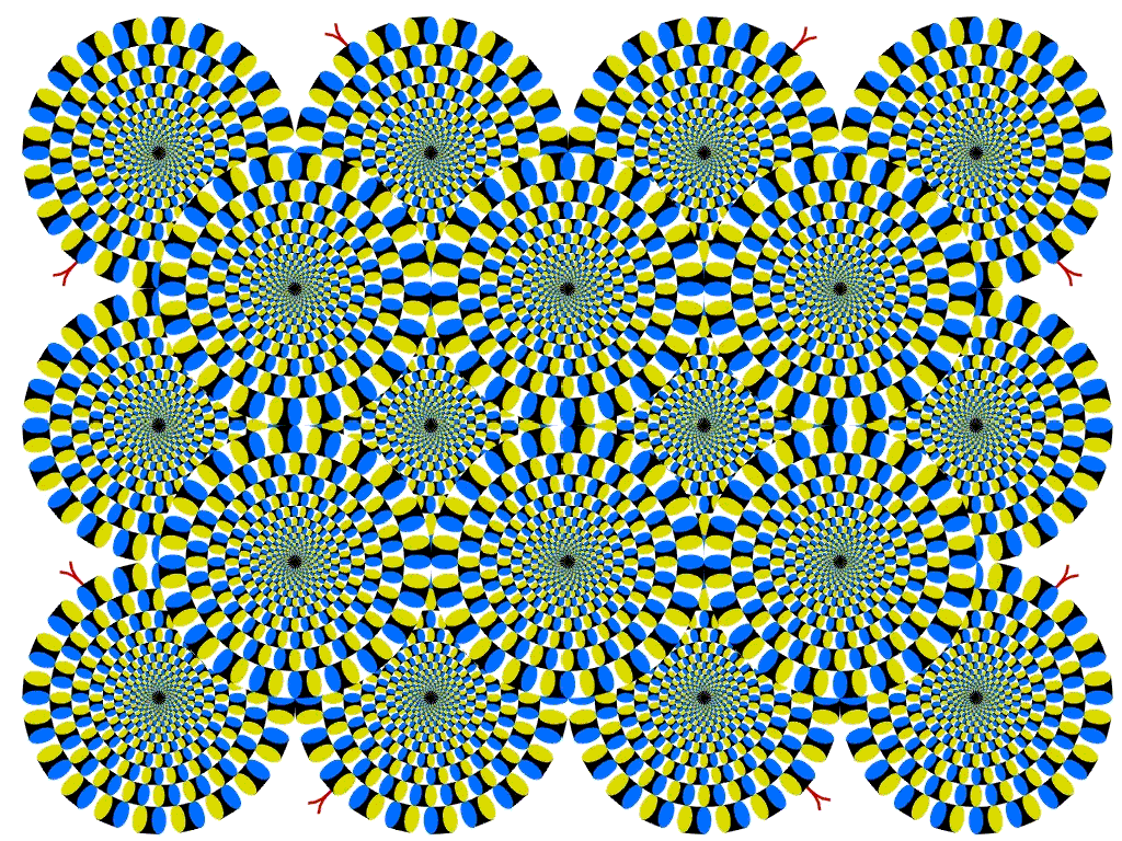 optical illusion wheels circles rotating